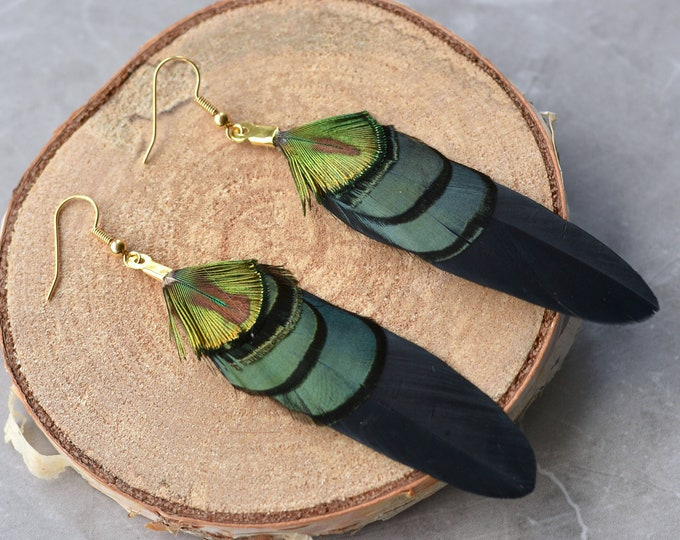 Black, Green and Gold Feather Earrings
