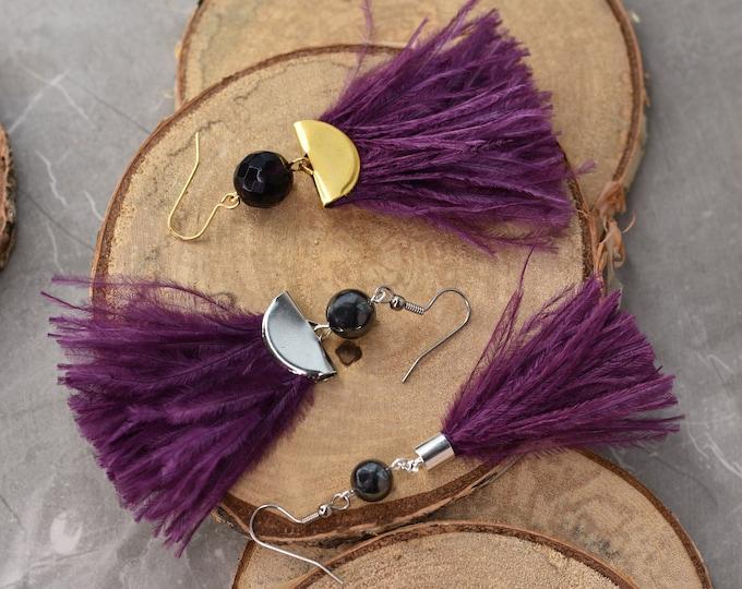 Plum Ostrich Feather Tassel Earrings