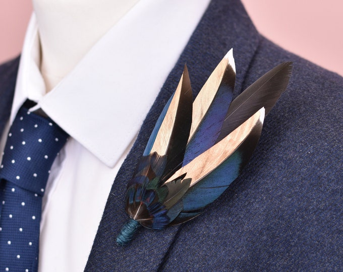 Blue and Gold Feather Lapel Pin No.112