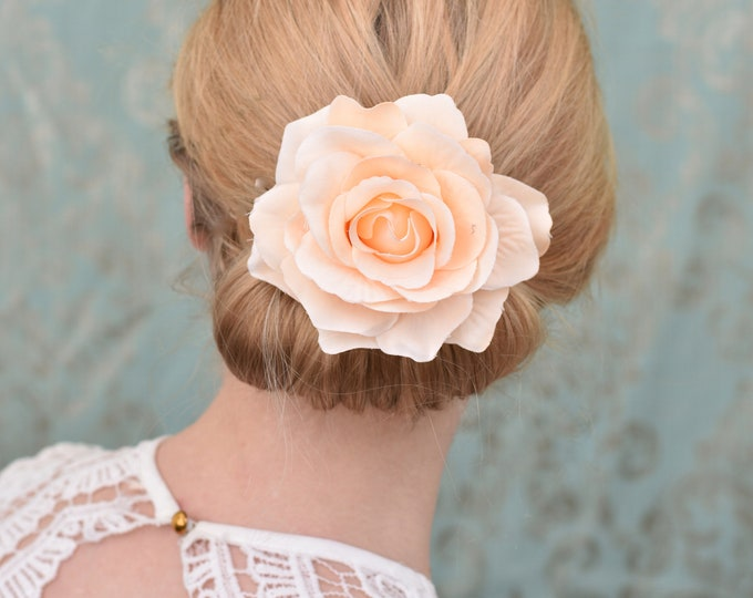 Blush Pink Rose Hair Clip