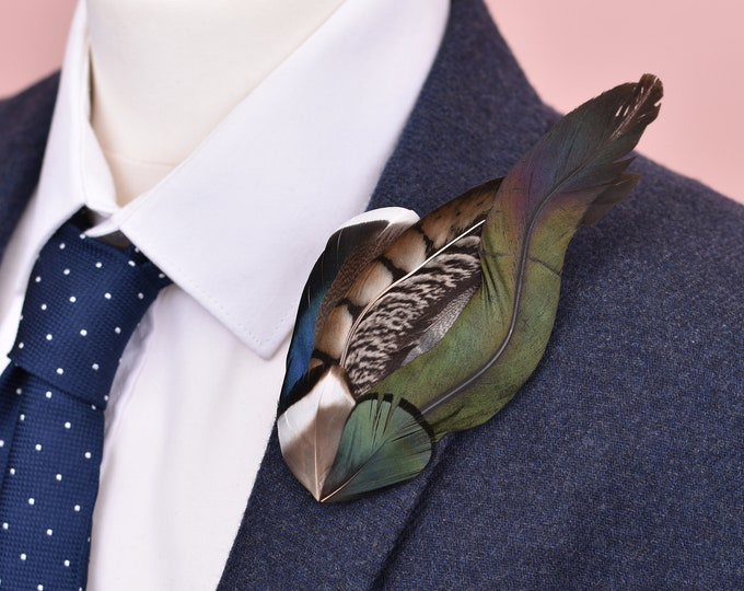Magpie and Pheasant Feather Lapel Pin Brooch No.36