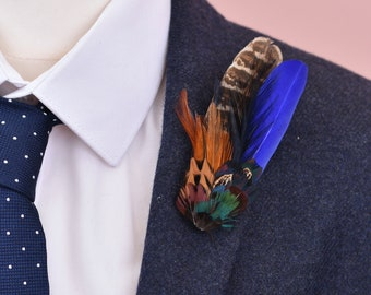 Blue and Pheasant Feather Lapel Pin