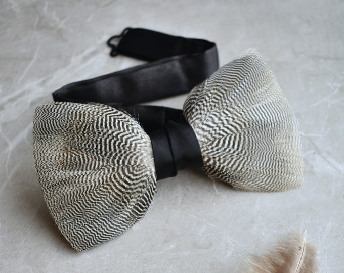 Pin Stripe Duck Feather Bowtie in Black and White