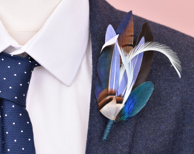Navy Blue Duck and Pheasant Feather Lapel Pin No.110