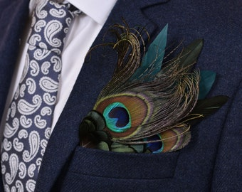 Green and Peacock Feather Pocket Square No.26