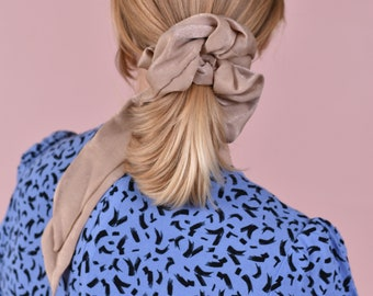 Giant Rosette Scrunchie in Nude Pink Satin