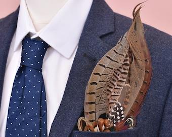 Pheasant Feather Pocket Square No.1