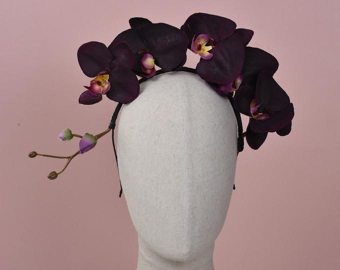 Plum Orchid Floral Headpiece