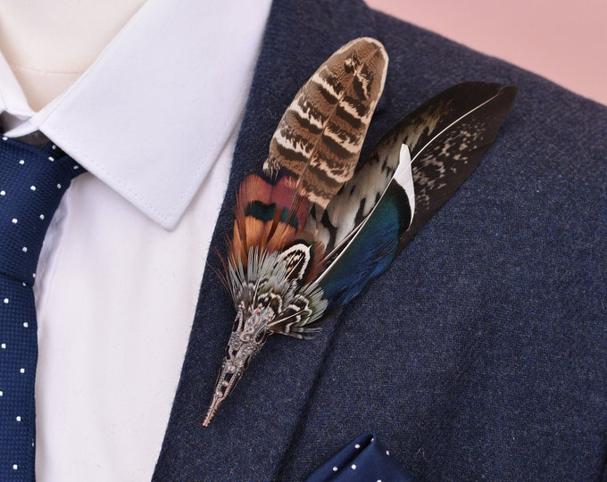 Pheasant and Duck Feather Lapel No.58
