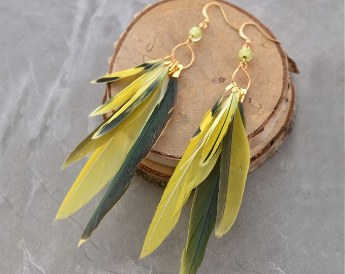 Yellow and Green Feather Earrings No.31