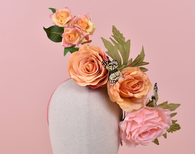 Sculptural Roses Headpiece in Pink and Orange