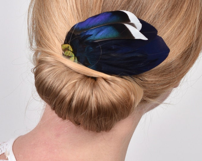 Navy Blue and Gold Feather Hair Clip Fascinator