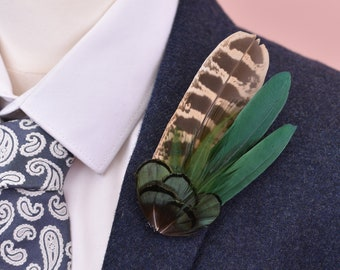 Bottle Green and Pheasant Feather Lapel Pin