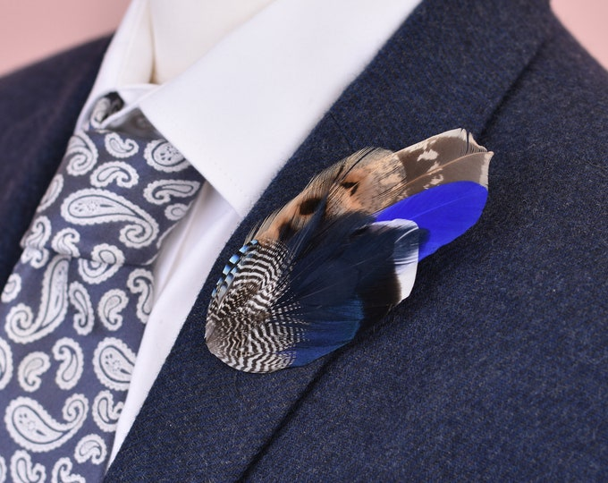 Pheasant and Duck Blue Feather Lapel Pin