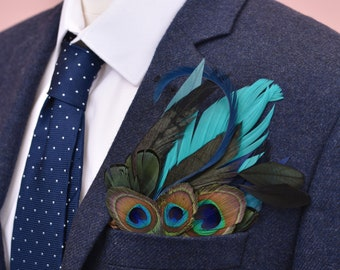 Teal and Peacock Feather Pocket Square No.14