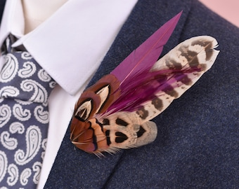 Plum and Pheasant Feather Lapel Pin