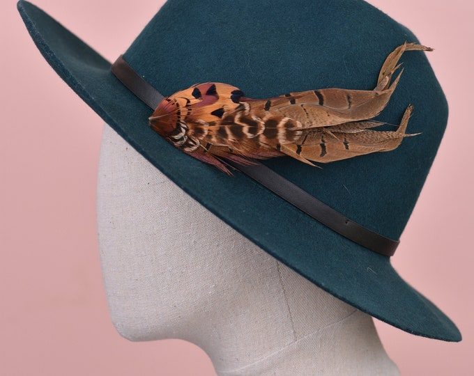 Natural Pheasant Feather Lapel Pin in Copper No.14