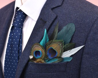 Green and Peacock Feather Pocket Square No.10