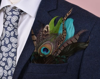 Green Peacock and Pheasant Feather Pocket Square No.18