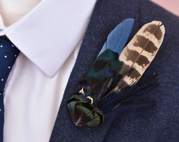 Navy Blue and Pheasant Feather Lapel Pin