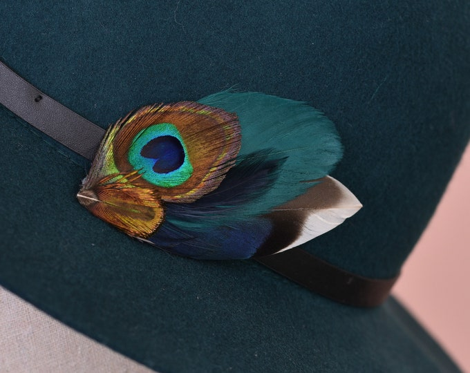 Teal and Navy Peacock Small Feather Lapel Pin / Hat Pin No.55