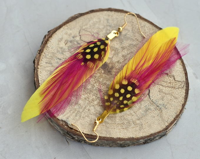 Yellow and Pink Feather Earrings