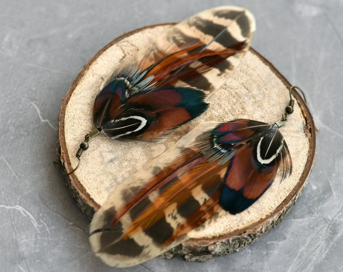 Mixed Pheasant Feather Earrings