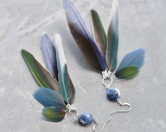 Blue Feather Earrings No.28