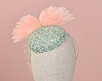Peach Bird Wings and Mint Green Button Fascinator with Nude Veil