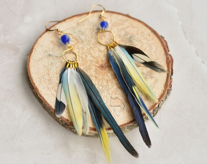 Blue, Grey and White Feather Earrings No.24