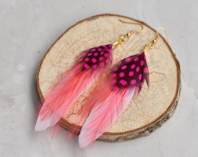 Flamingo Pink Feather Earrings