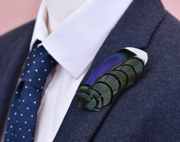 Blue and Green Duck Feather Lapel Pin Brooch