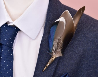 Unique Duck Feather Lapel Pin Brooch No.42