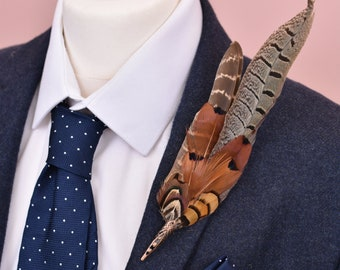 Large Natural Pheasant Feather Lapel Pin