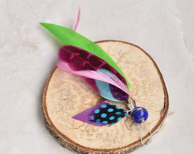 Single Statement Feather Tassel Earring in Pink, Green and Blue No.027
