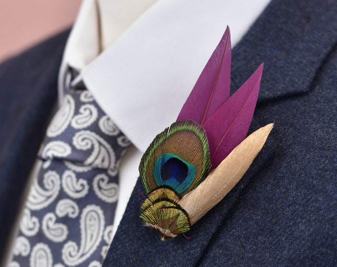 Peacock Eye,  Purple and Gold Feather Lapel Pin