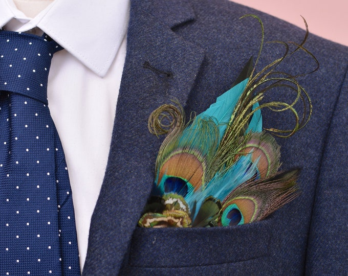 Teal and Peacock Feather Pocket Square No.12