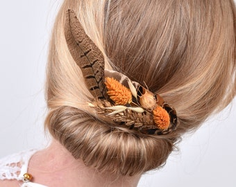Harvest Gold Large Pheasant Feather Hair Clip with Dried Flowers