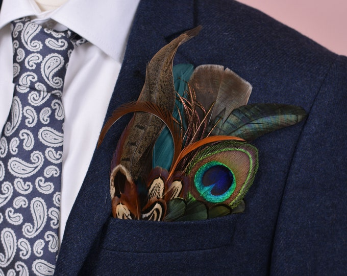 Pheasant and Peacock Feather Pocket Square No.24