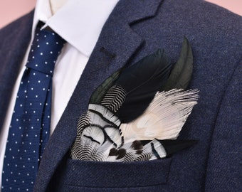 Monochrome Feather Pocket Square No.11