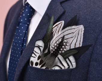 Monochrome Feather Pocket Square No.15