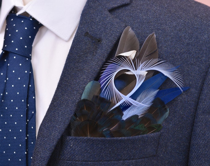 Shades of Blue Feather Pocket Square No.13
