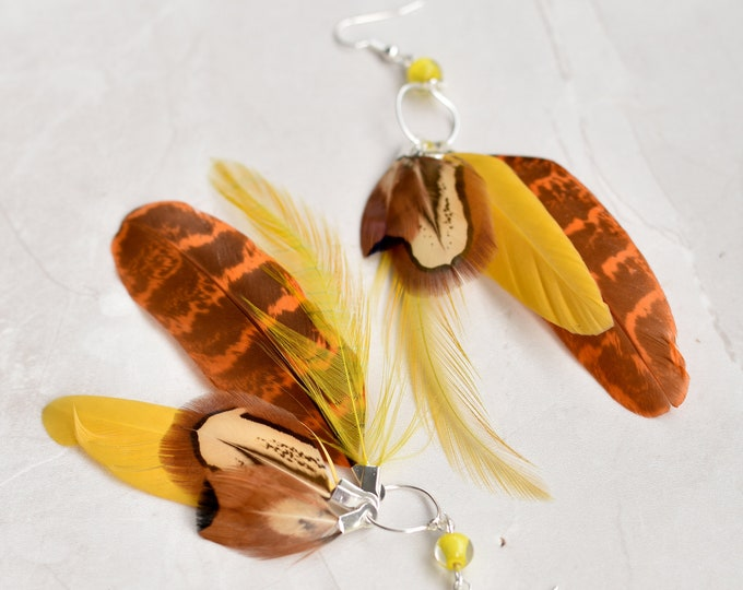 Statement Feather Tassel Earrings in Yellow and Orange No.008