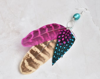 Single Statement Feather Tassel Earring in Pink and Blue No.020