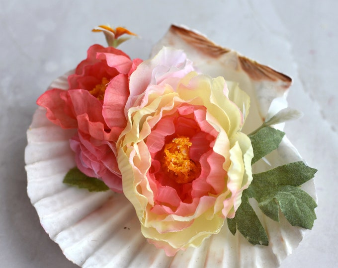 Silk Flower Hair Clip in Coral Pink Ranunculus and Roses