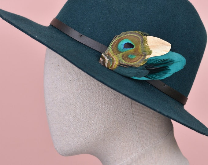 Teal and Gold Peacock Feather Lapel Pin / Hat Pin No.98