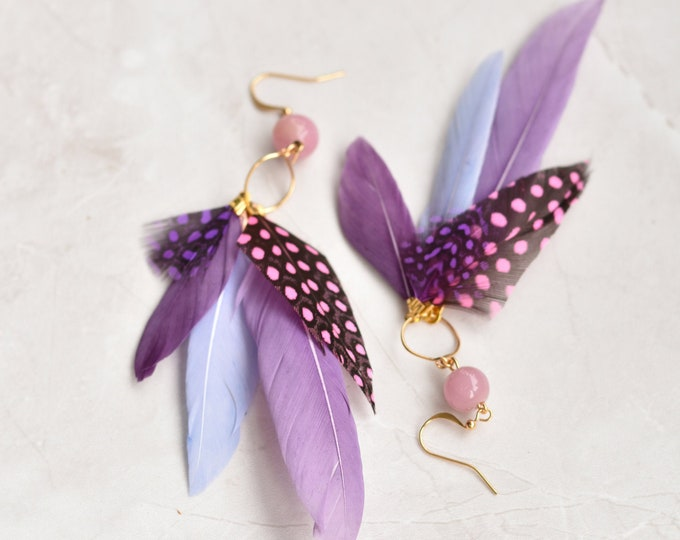 Statement Feather Tassel Earrings in Purple and Pink No.029