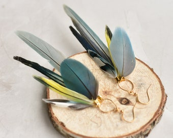Blue, Grey and White Feather Earrings No.22