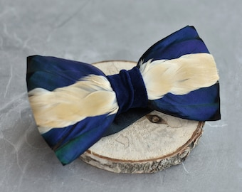 Mallard Feather Bow Tie in Navy Blue and Ivory