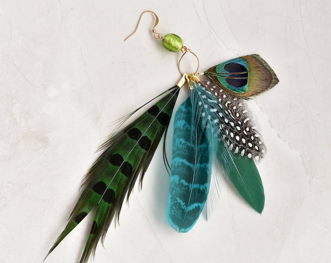 Single Statement Blue and Green Feather Tassel Earring No.010
